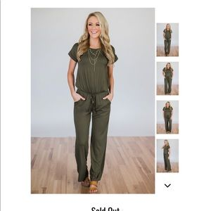NEW Boutique Olive Short Sleeve Romper